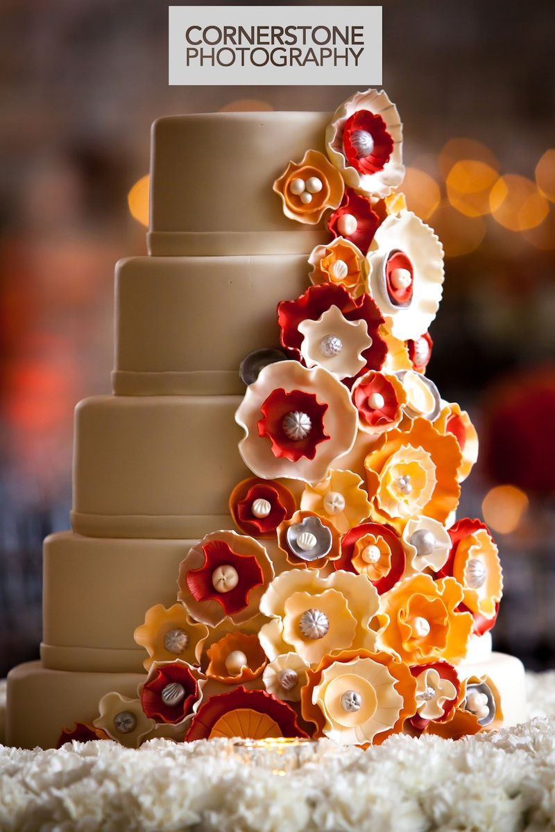 Orange red and white wedding cake