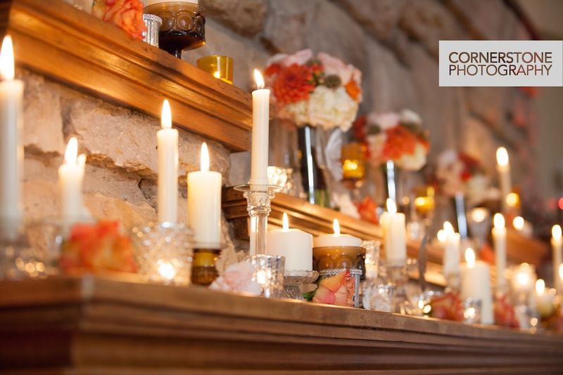 Mantel covered in candles