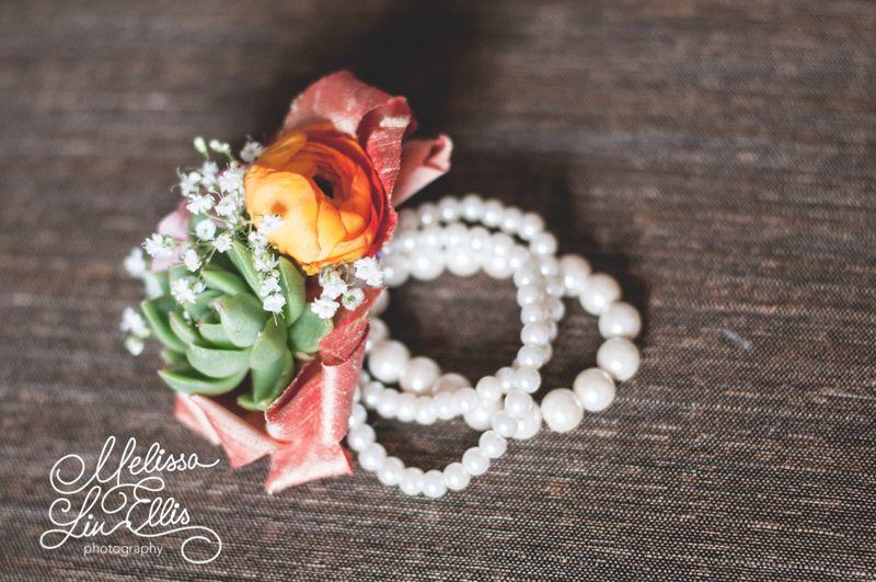 Ranunculus and succulent corsage