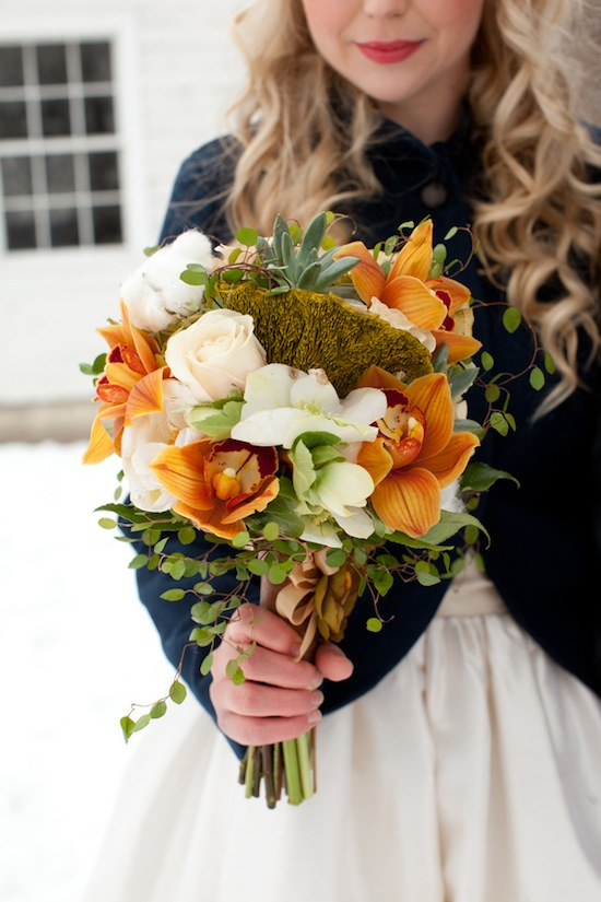 Orange-white-and-green-winter-bouquet