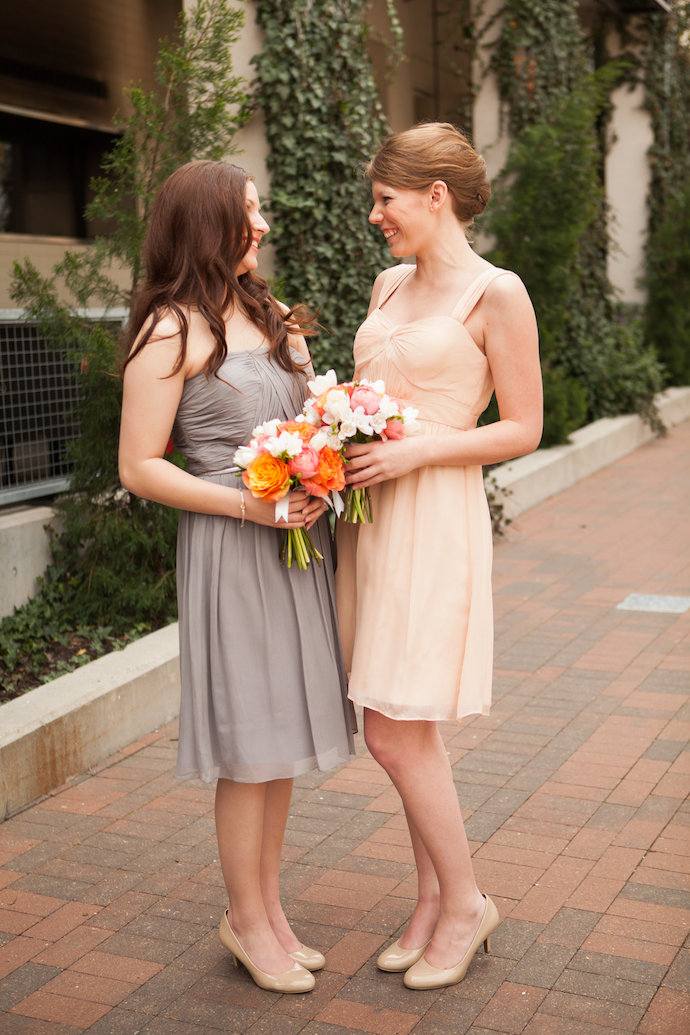 Grey and blush bridesmaids dresses