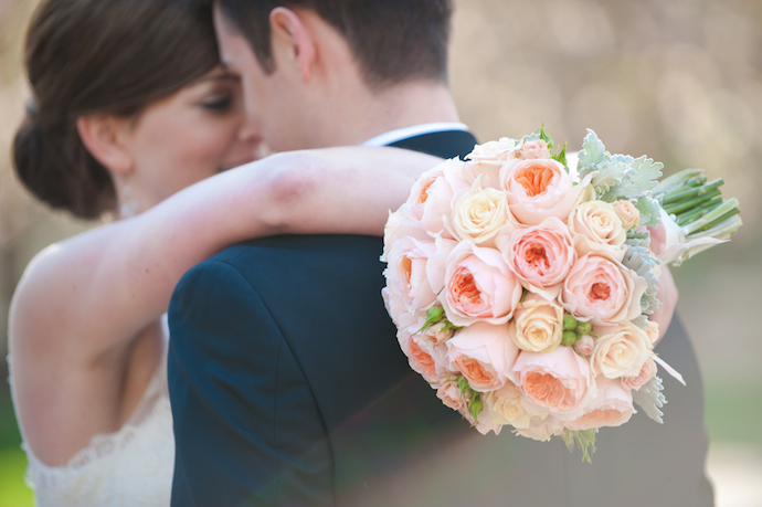 Peach and mint bridal bouquet