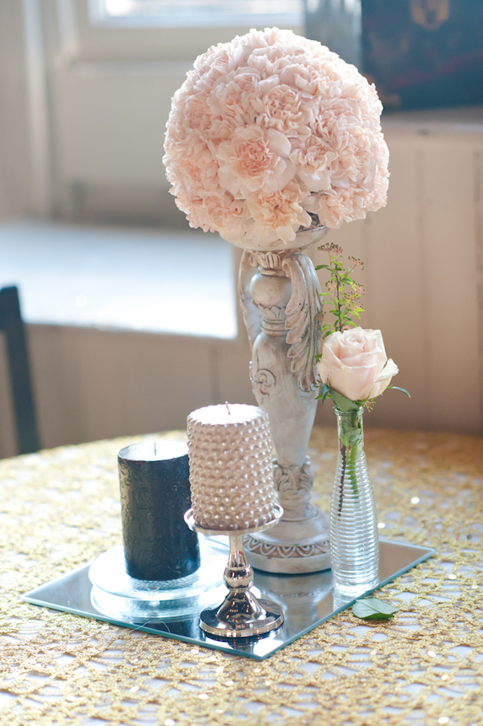 Blush pomander centerpiece