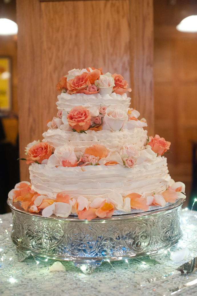 Coral and blush cake flowers