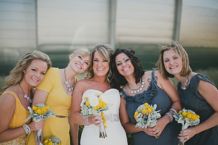 Grey and yellow bridesmaids dresses