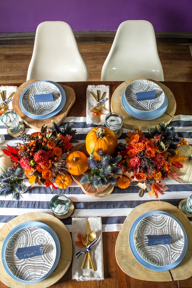 Orange and navy thanksgiving tabletop inspiration