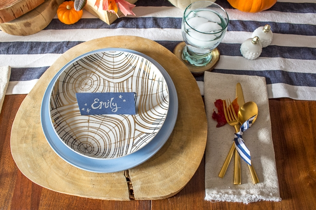 Gold wood grain salad plates by West Elm and David Stark.