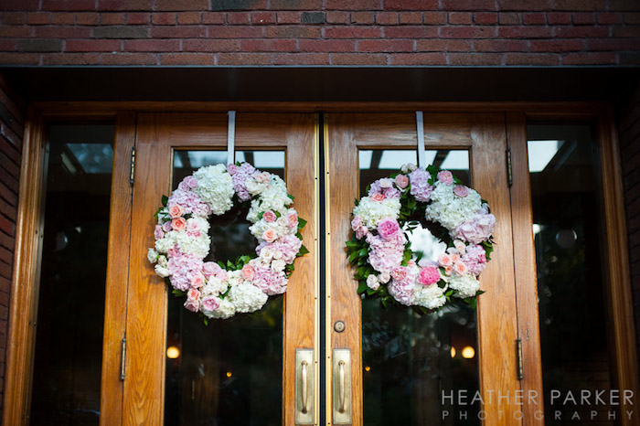 Romantic pink and white wreaths