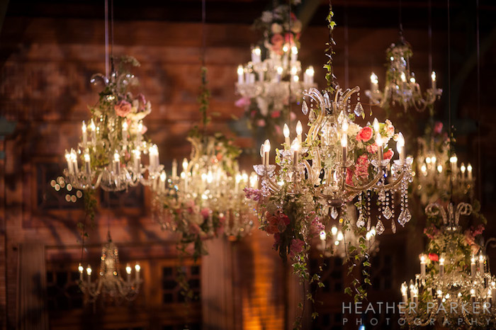 Chandelier covered in flowers