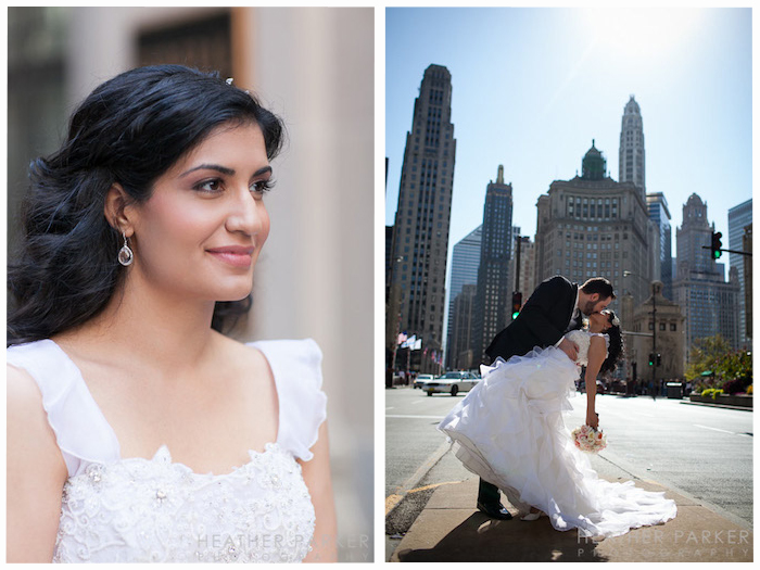 Beautiful bride and Chicago skyline