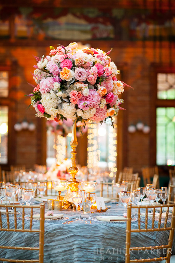 Gold wedding centerpiece