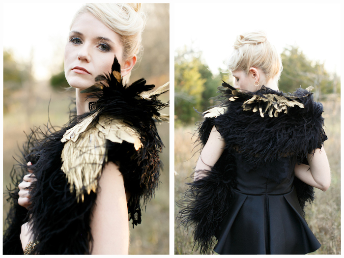 Gold and black feather stole
