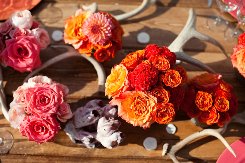 Orange and coral wedding flowers