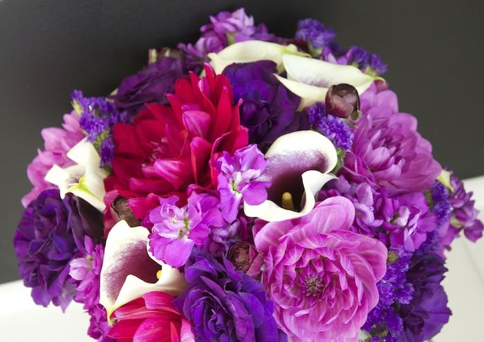 Dahlia, calla lily, and lisianthus bouquet