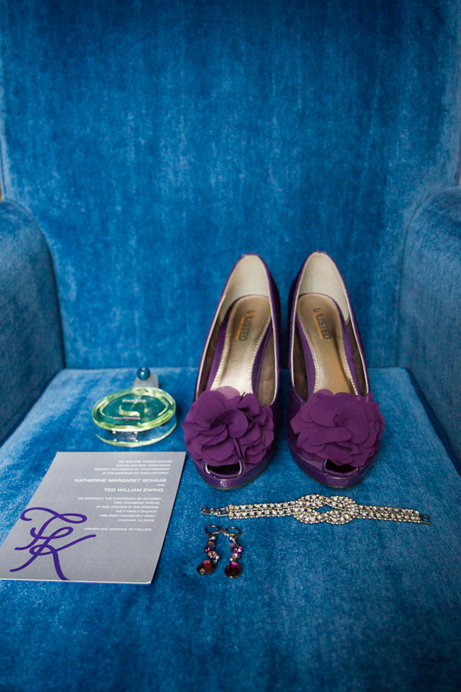 Purple wedding shoes, and diamonds