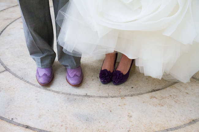 Purple suede grooms shoes