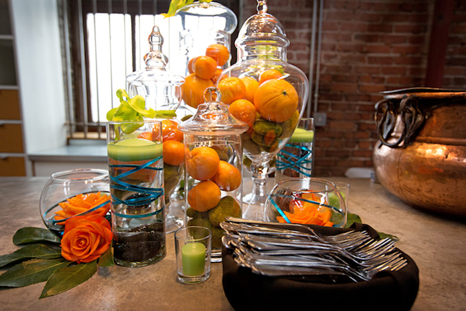 Orange green and turquoise centerpieces