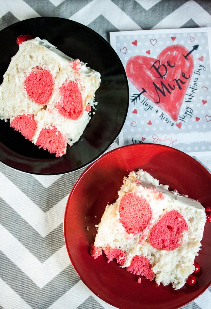 Slices of polka dot cake