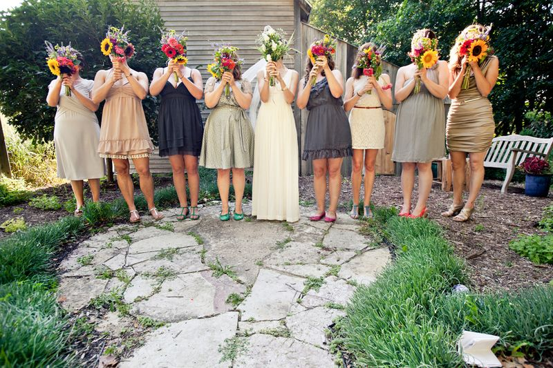 Colorful whimsical bridesmaids bouquets