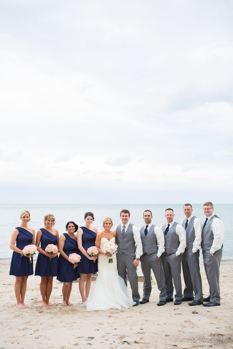 Navy and grey wedding party