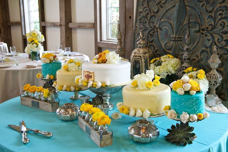 Turquoise and yellow dessert table