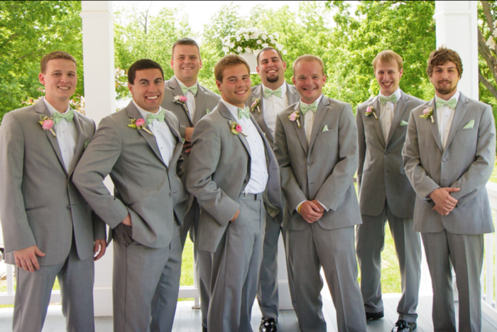 Grey suits for the groomsmen