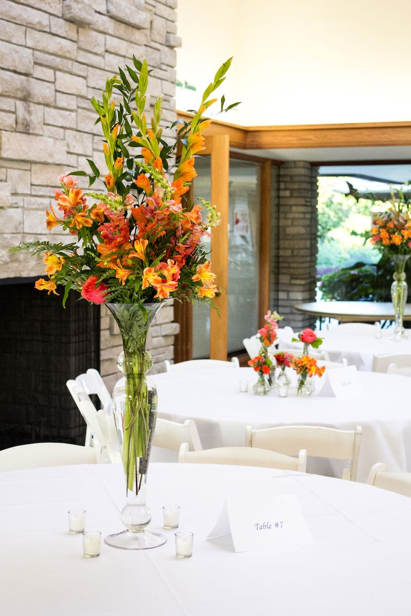 Tall orange centerpieces