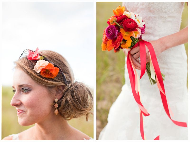 Coral, orange, and peach floral crown