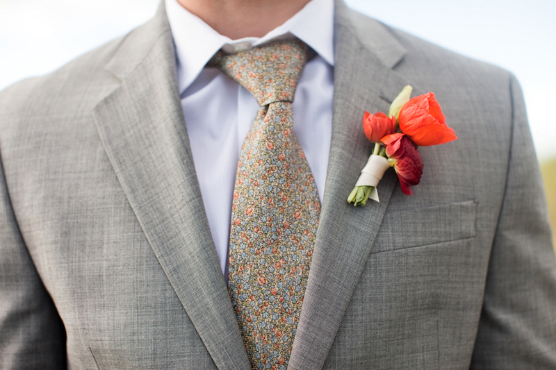 Poppy and ranunculus boutonniere