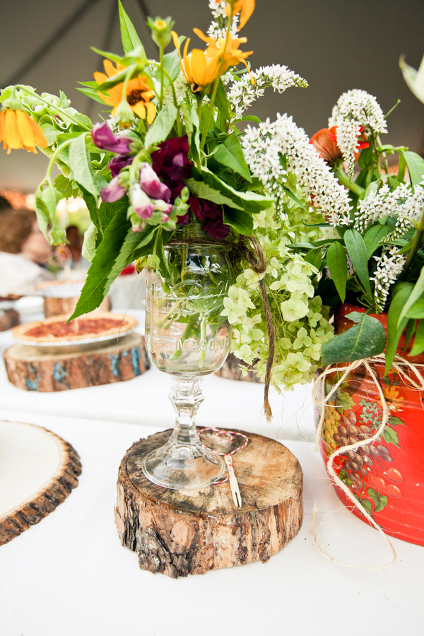 Rustic and wild flower centerpieces