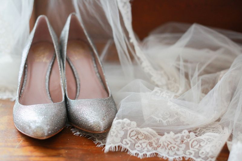 Silver sparkle bridal shoes