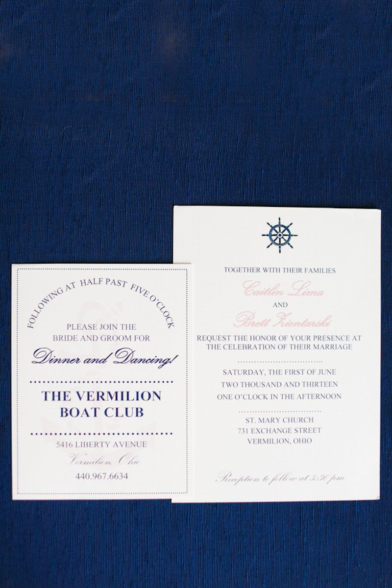 Nautical navy wedding invitations
