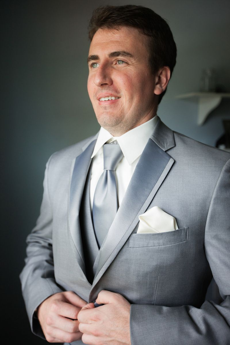 Charcoal grey suit on the groom