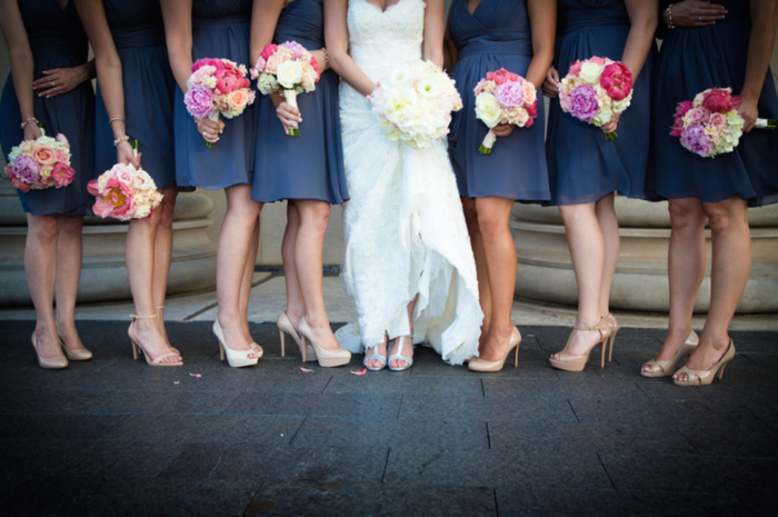 Coral bridesmaids bouquets