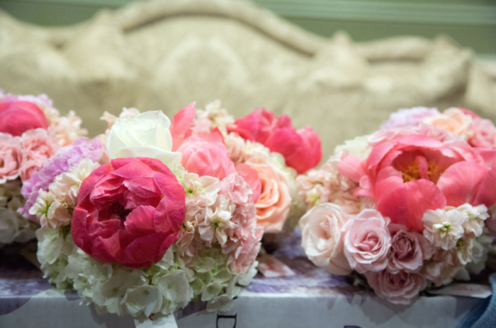Coral charm peony bouquets