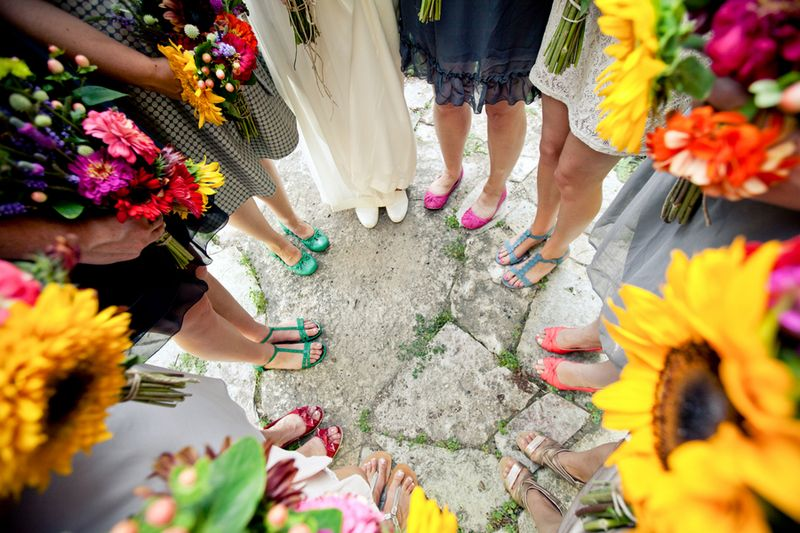 Colorful bridesmaids shoes