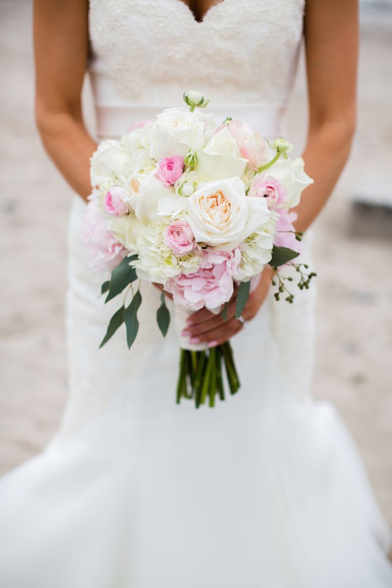 Peony garden rose and ranunculus bouquet