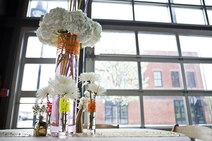 Neon twine and bud vases