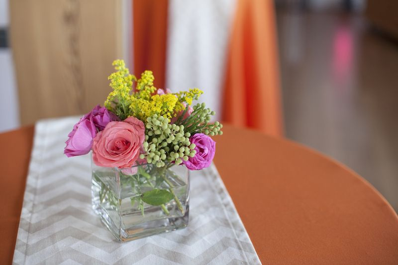 Khaki chevron and colorful flowers
