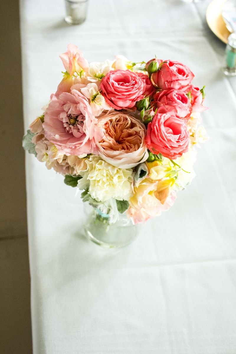 Peach and coral roses
