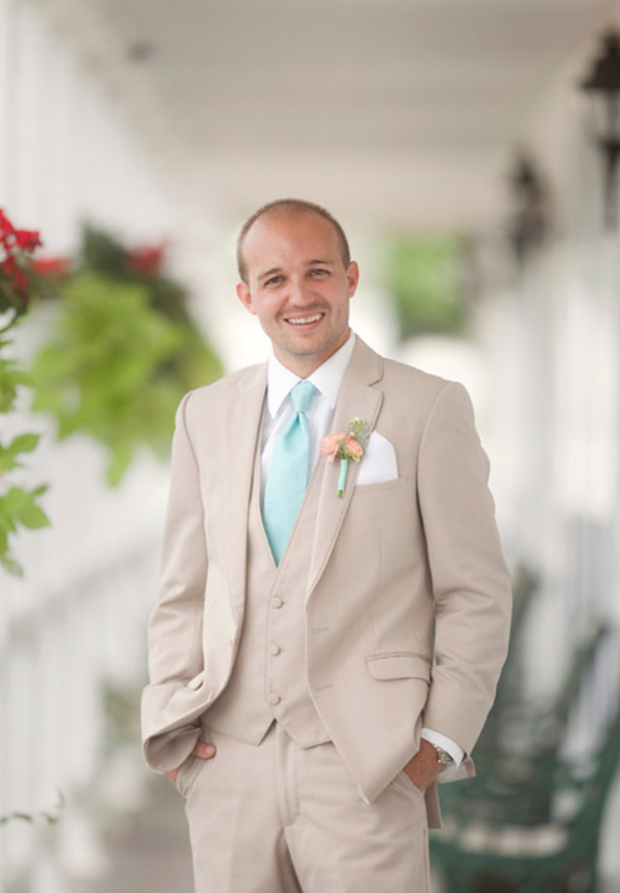 Beige wedding party suits