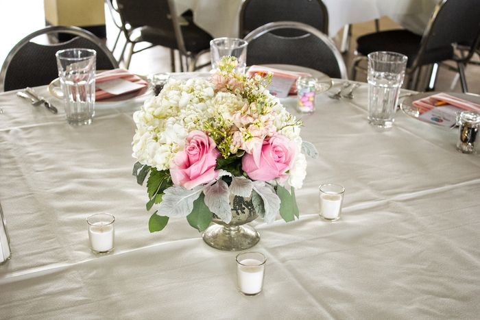 Dusty miller and ivory hydrangea centerpiece