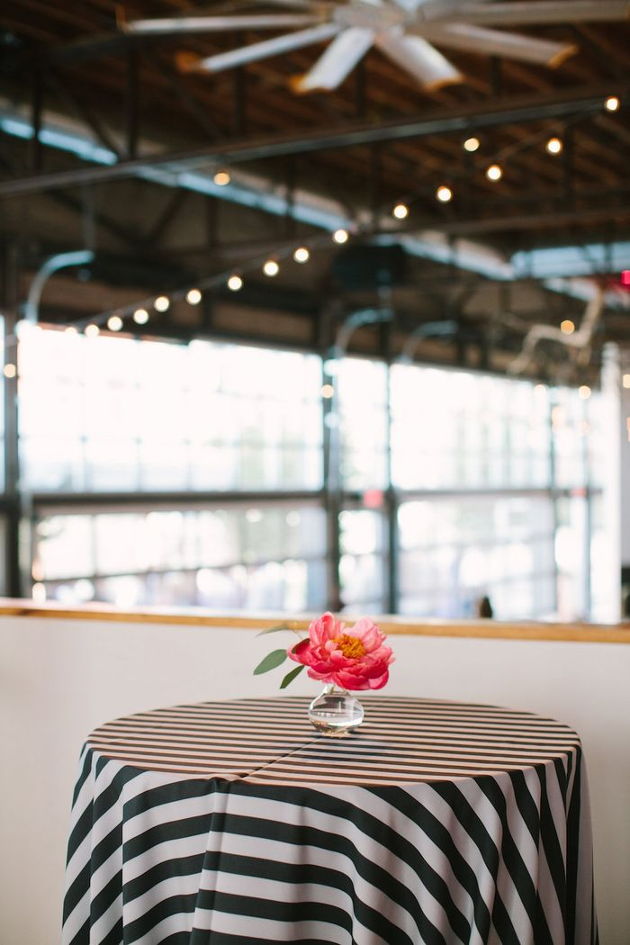 Black and white stripe cocktail linens