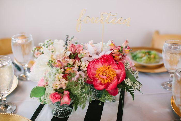 Coral charm peony centerpiece