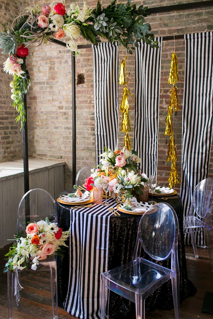 Handmaker of things inspiration and editorial black and white stripe modern wedding junglespirit