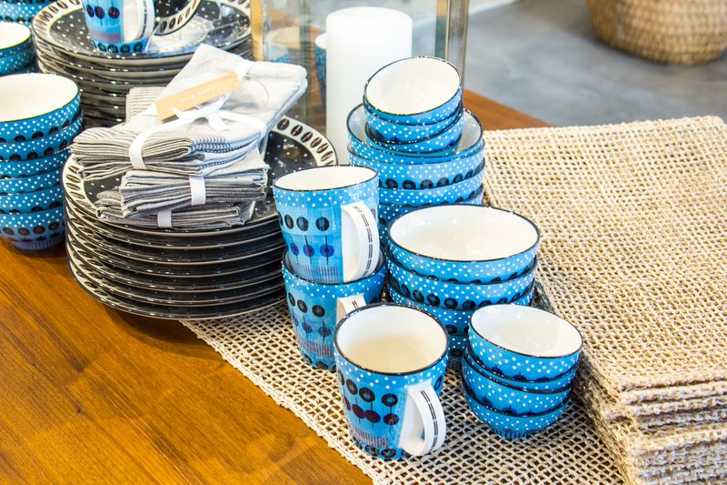 Blue potter at West Elm
