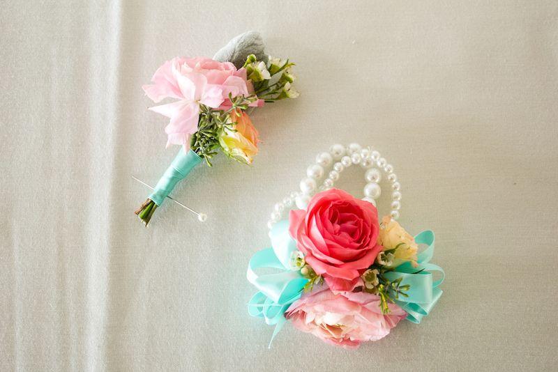Coral and aqua wedding