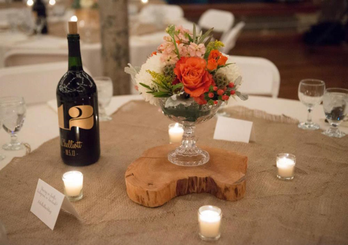 wood-slices-and-vintage-crystal-container-centerpiece