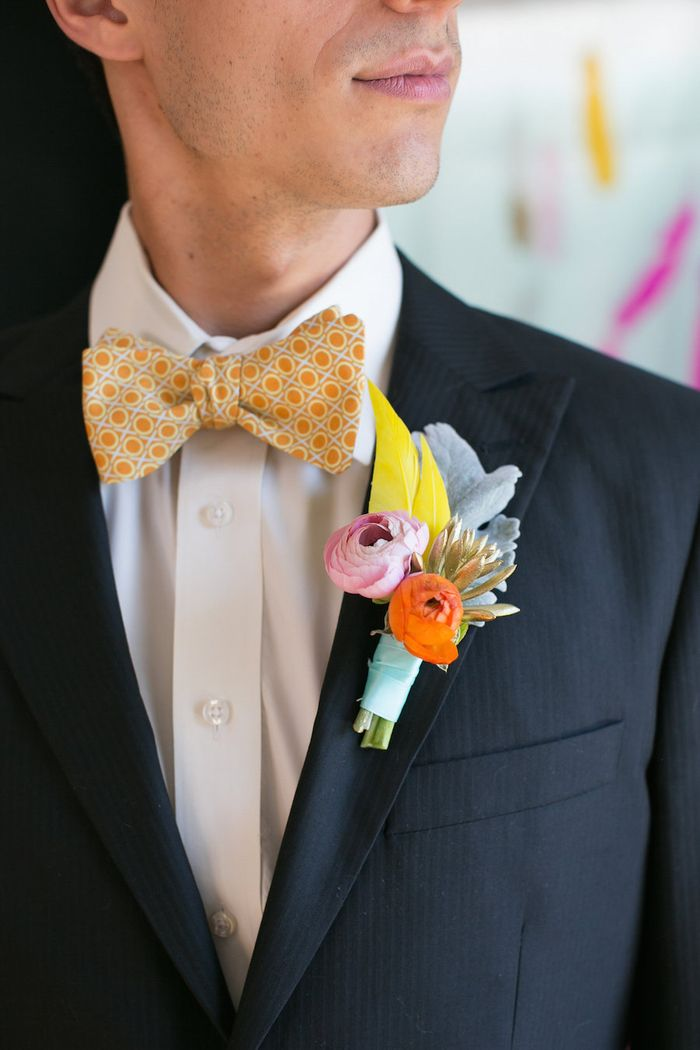 Feather-and-succulent-boutonniere
