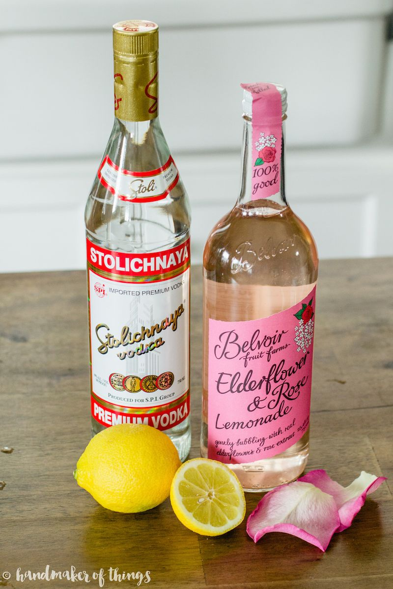 Basil rose lemonade cocktail